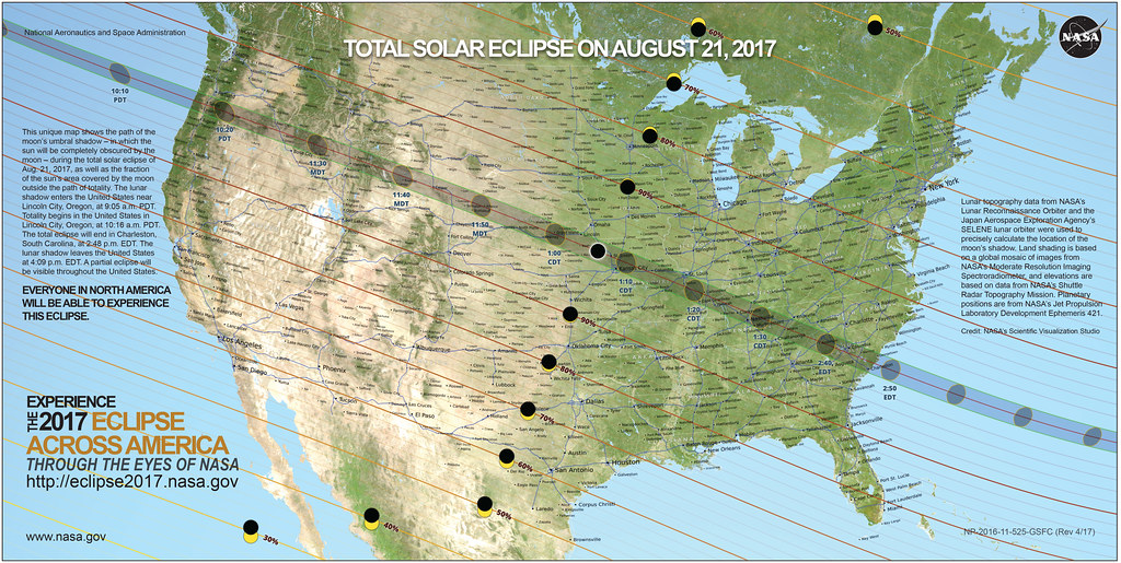 Total Solar Eclipse 2017 Path USA Map | This unique map show ... on venezuela's map, uk's map, www.usa map,