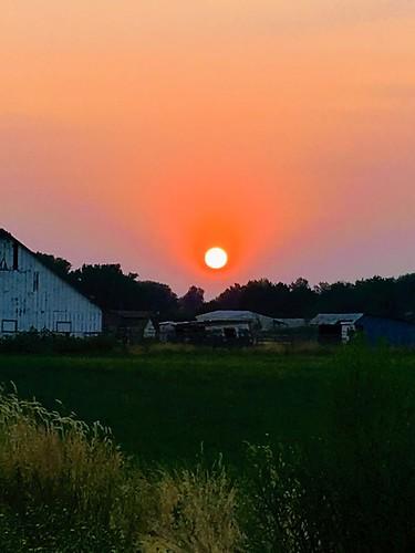 smoke summer farm rural sunset sun