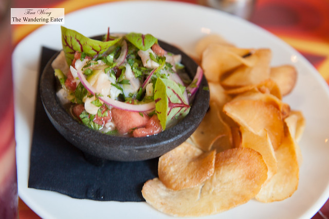 Ceviche - Market fish, aji amarillo, watermelon, lime, cilantro, red onion, yuca chips