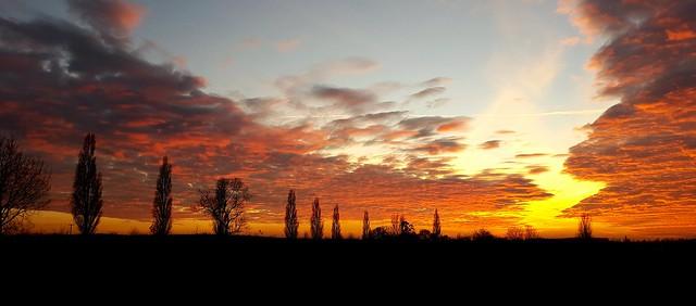 Sunset in Pebmarsh, Essex, UK