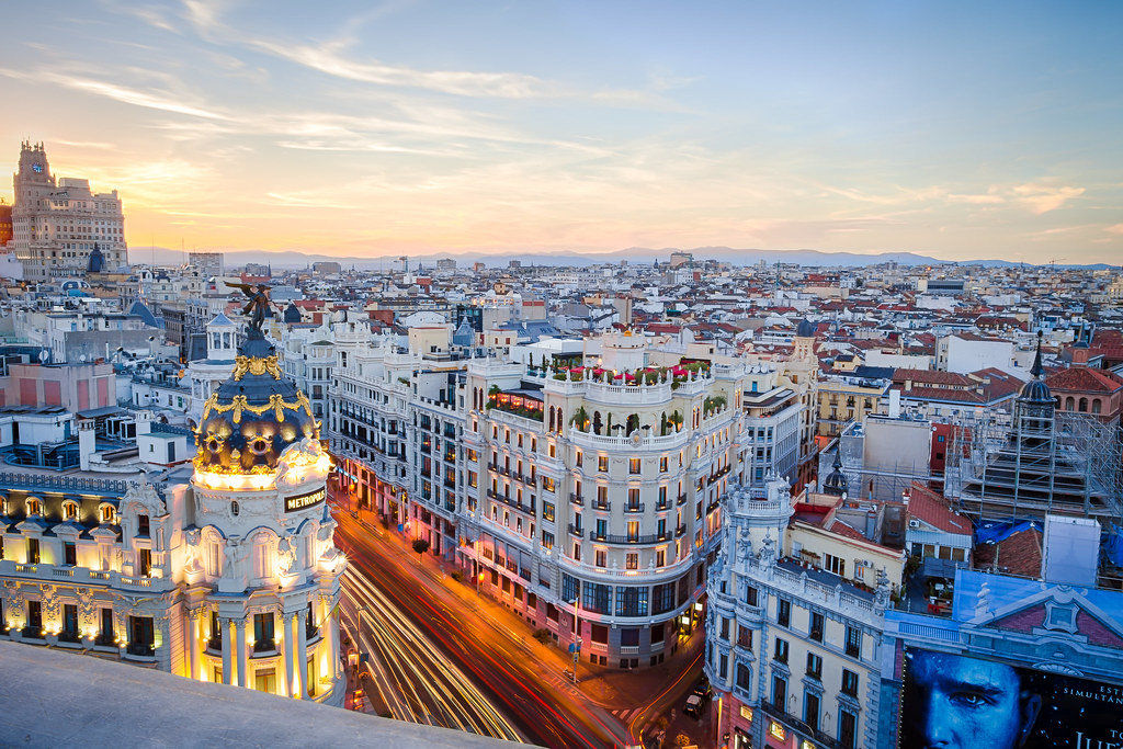 Sunset At The Circulo De Bellas Artes Rooftop Madrid Spai