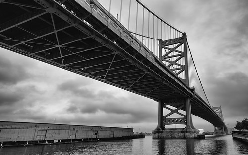 landscape bridge delawareriver monochrome philly bw benjaminfranklinbridge philadelphia clouds pennsylvania unitedstates us poststormclouds