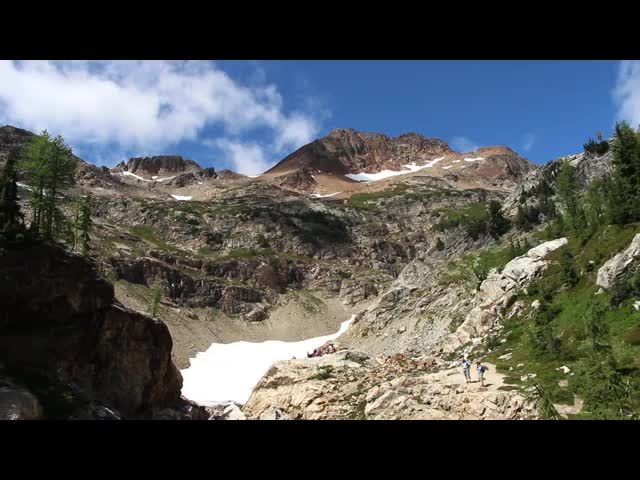4945 Panorama video of the outflow stream from the Spider Glacier as it heads steeply down to Spider Meadow