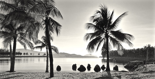 diamond bay nha trang vietnam september 2017 bw monochrome sunrise morning