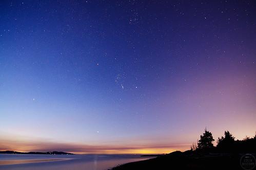 centralsaanich bc britishcolumbia canada vancouverisland islandview beach sunrise stars dawn daybreak trees water ocean longexposure