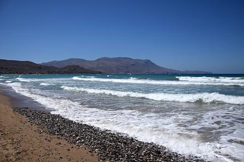kissamos crete kreta kriti greece greek beach pebble rocks stones sand water blue waves nature landscape view seascape mediterranean gramvousa sunny