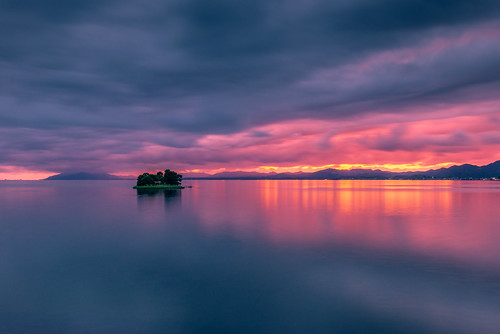 japan sunset sky light cloud weather landscape pink contrast colour bright lake island water nature fall autumn