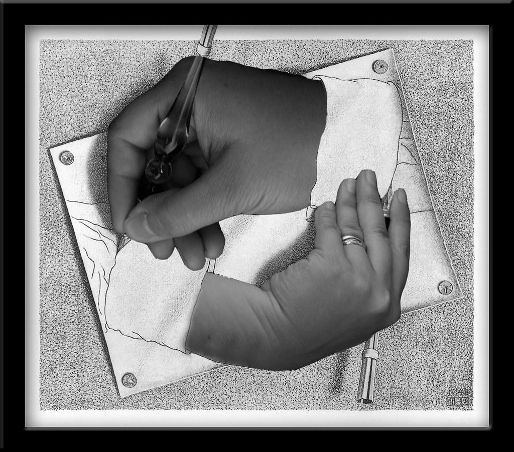 'Drawing Hands' - An homage to M.C. Escher