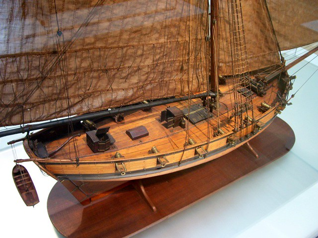 Model of a 1775 French Armed Cutter ca  1800, pearwood, eb