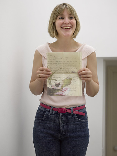 CF002864Polly Br Jessica  Ball with her hand-written letter to go with her hand stitched hanky for Marks and Spencer SS14 'leading lady' model Alex Wekaden Stitch-In For a Living Wage At M&S | by craftivist collective