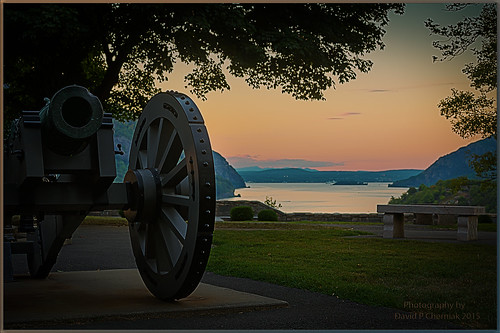 Rev War Cannon Hudson River West Point Military Academy, NY Sunset HDR 8-9-2015.