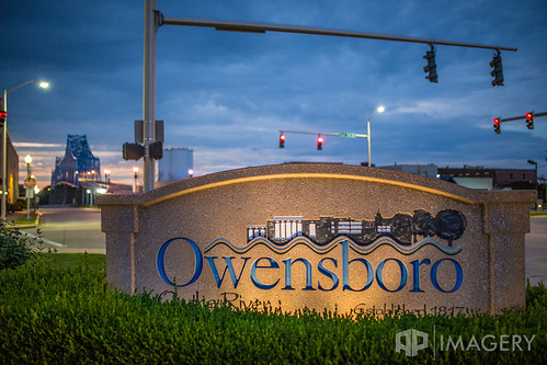 owensboro sunset bluebridge bridge downtown glovercary sign twilight kentucky usa