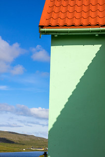 Light and shadow on a house in Í Trøðum at Sandur in Sandoy, Froe Islands | by thorrisig