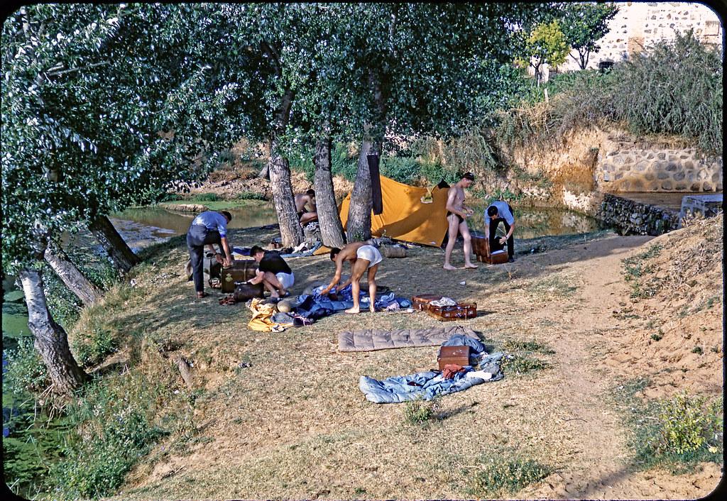 Vintage Kodachrome. July 1955. Spain. Wild camp near Sevil ...