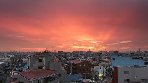 japan tokyo tokio asia sunrise sunset city town buildings colour coloured orange koiwa canon