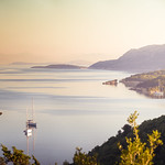 Sivota bay during sunrise. A panorama of 6 vertical shots taken with a Sigma 50-150 f/2.8 at f/9