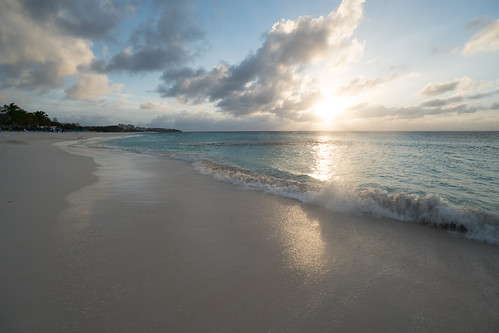 anguilla shoal bay beach sand sunset sky clouds waves ocean carribean sea serene peaceful sandy landscape