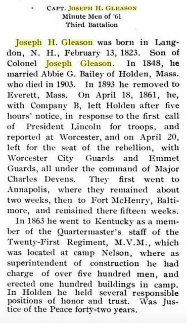 Biographical information on Joseph H. Gleason