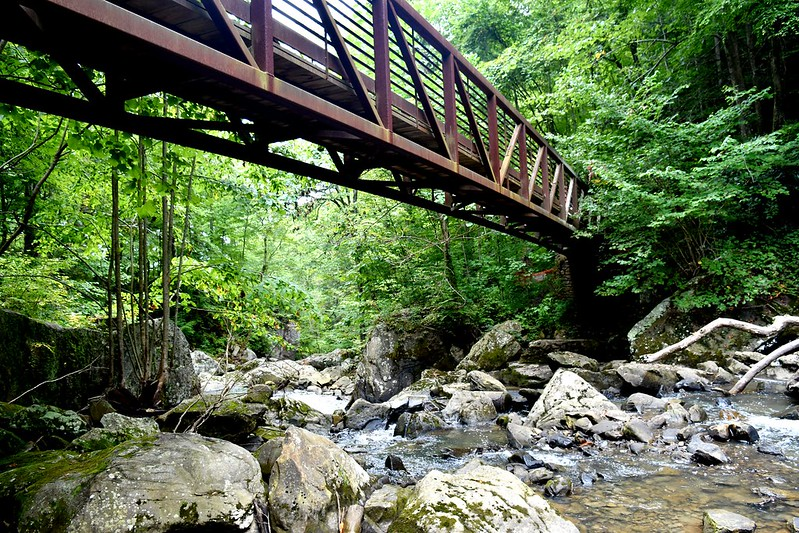 Kaymoor Mine trail bridge in summer