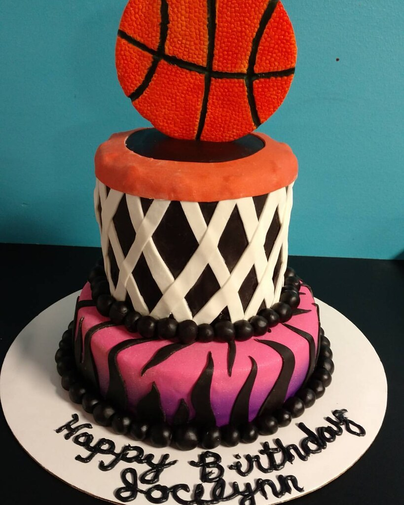 Fantastic Girls Basketball Birthday Cake Two Layers Of Fun Decorate Flickr Funny Birthday Cards Online Aeocydamsfinfo
