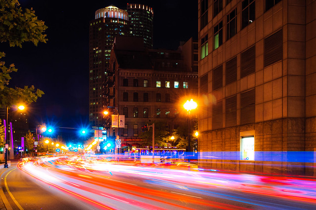 Boston Skyline and Light Trails