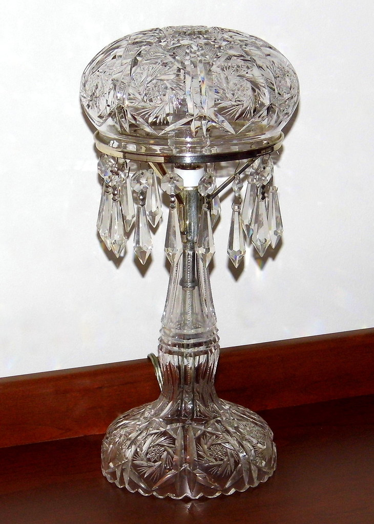 Antique American Brilliant Cut Crystal Table Lamp Mushroo