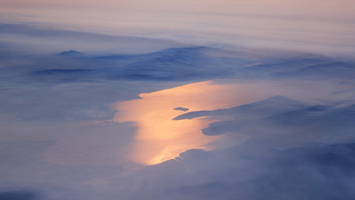 aerialphotography upperklamathlake oregon sunlight reflection smoke haze morning
