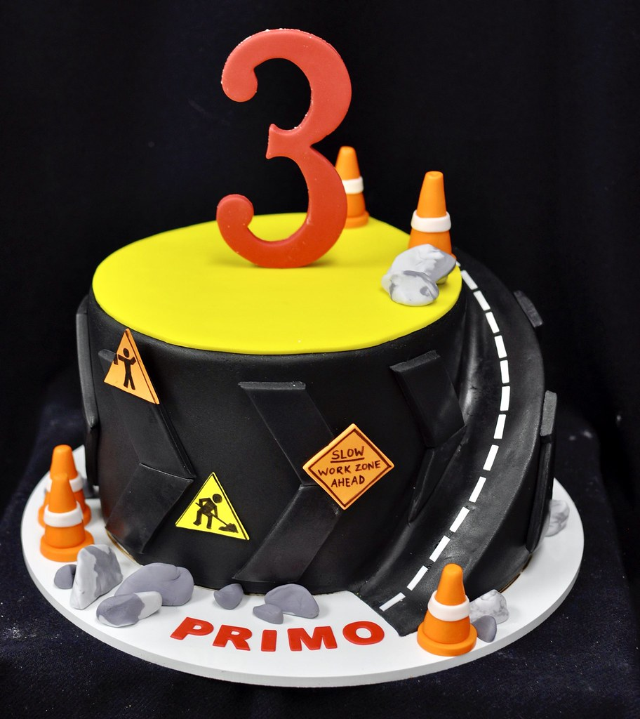 Sensational Construction Themed Birthday Cake Carefully Carved Road Ar Flickr Personalised Birthday Cards Veneteletsinfo