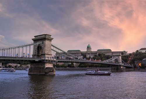 budapest boat danube river riverdanube hdr dri art architecture bridge chainbridge chain sky clouds pink sunset water buda castle budacastle