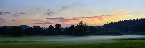sunset hof upper franconia germany landscape panorama fog regnitz