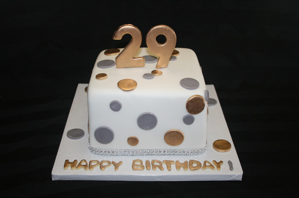 Awesome Silver And Gold 29Th Birthday Cake Aliciascupcakesandcake Flickr Personalised Birthday Cards Paralily Jamesorg