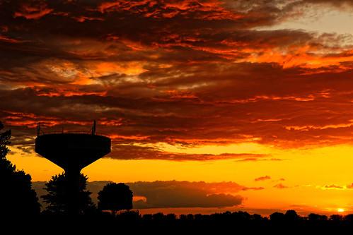 sunset watertower furnacesky fire cloudsstormssunsetssunrises silhouette burtonuponstather hathby westernsky atomspheric burning eos5dmkiv ef2470f28llusm canon england uk skyscape sky northlincolnshire britain