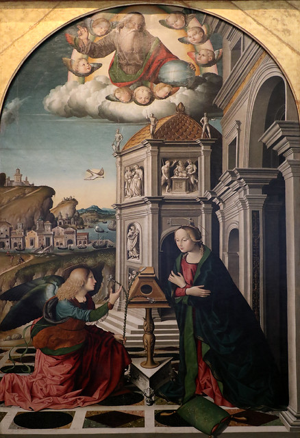 Marco Palmezzano (1459-1539)  - Annunciazione e Dio Padre (1490-1499) - Pinacoteca Vaticana - musei vaticani