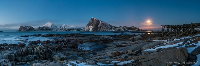 Moonlight on Offersøykammen, Lofoten, Norway, panorama