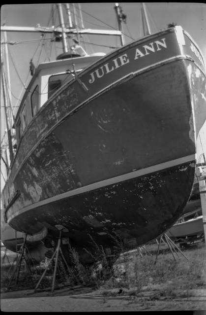 Julie Ann, ship, on stands, Rockland, Maine, No. 1 Autographic Kodak Jr., Ilford FP4+, Moersch Eco Film Developer, 8.18.17