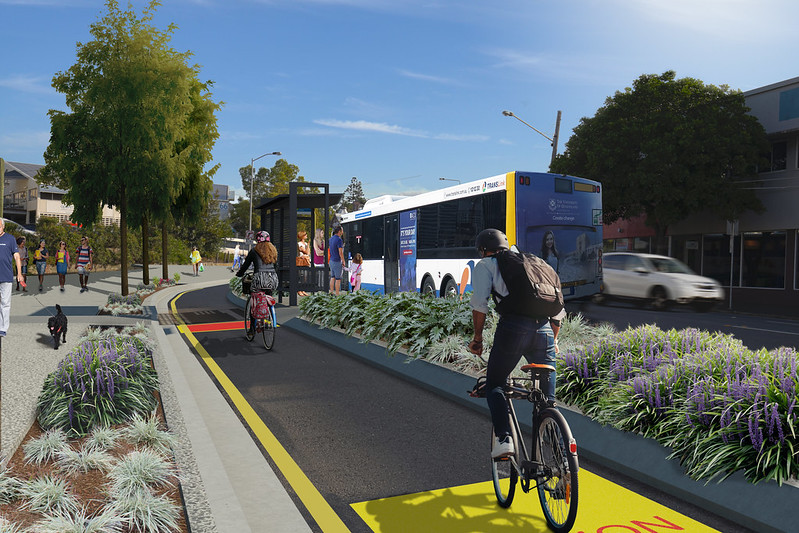 Woolloongabba Bikeway 4 - Annerley Road floating bus stop