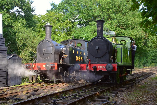 A brace of Y7 0-4-0 Tank Locos - on the left LNER 985, on long term loan from the North Norfolk and on the right, Middleton Railway visitor, NER No. 1310. Mid SuffolkRailway