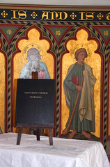 Uggeshall church prayer book with St Paul and St James the Less