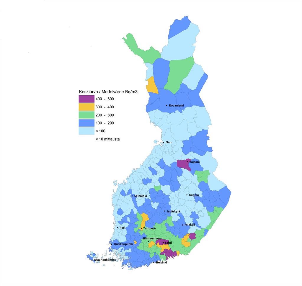 Radonpitoisuuden Keskiarvo Kunnittain Suomessa Kartta Peru Flickr