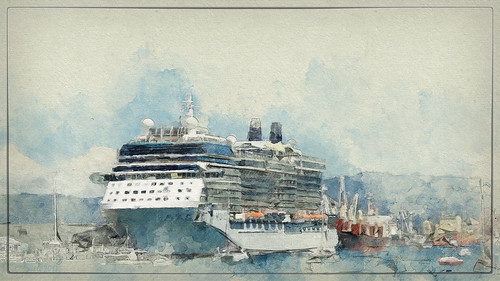 ship ships cruiseship cruise kreuzfahrtschiff kreuzfahrt tauranga newzealand watercolor watercolour sevenstyles textures texturen texture textur painterly photoborder photoshopaction water waterfront harbour hafen outdoor boat sky wasser netartii