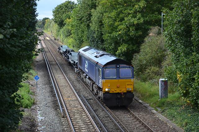 66434 works 6Z68 Eastleigh Works- Willesden Brent seen approachin Brentford Consist BNFL96905 BNFL96906