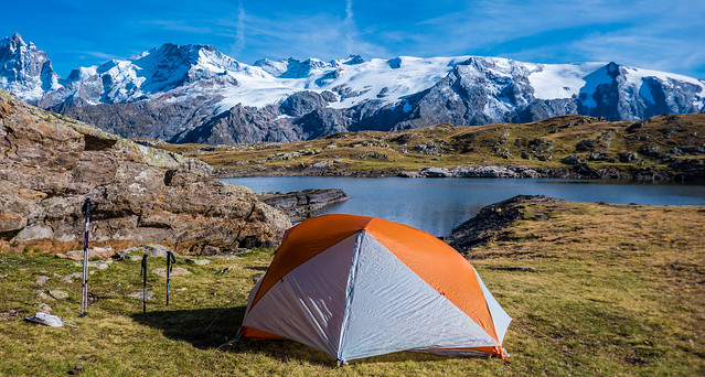 Perfect bivouac with the lake and the glacier