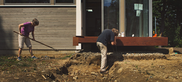 Mom and Dad working on Prospect St House construction / wood porch; Wakefield, MA (2017)