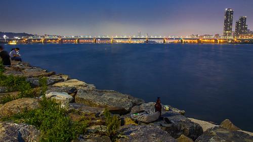twilight city citylight river seoul water