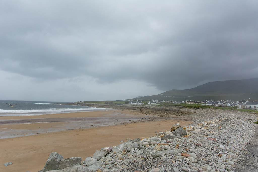 Dooagh Beach in storm