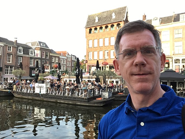 Paul at the confluence, Oude and Nieuwe Rijn, Leiden, Netherlands