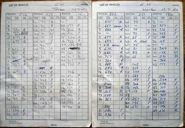 London Transport Edgware garage SMS-DMS-BL service runout 18.03.1980 + 19.03.1980 comparison