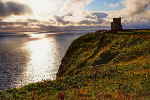 sea cloud sunset castle ireland