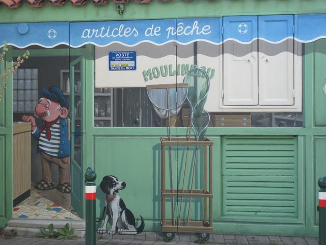 Peinture trompe l'œil hommage à Coluche