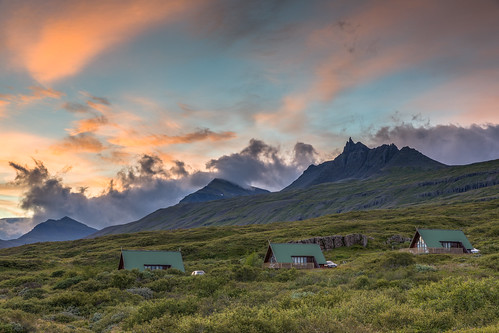 island austurland is easticeland iceland landscape mountains evening sunset house clouds sky vacation holiday canon eos 5d mkii